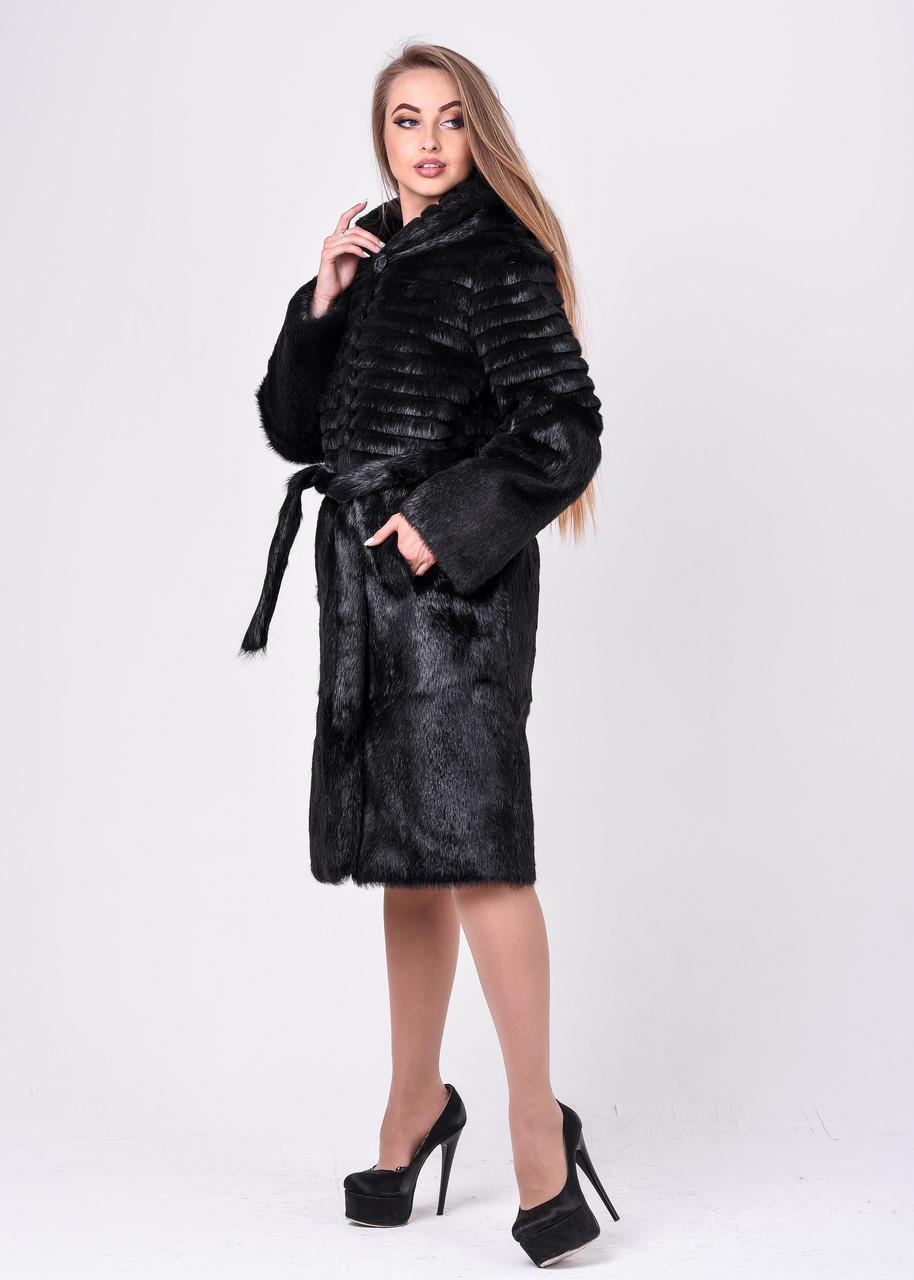 Женская зимняя шуба из нутрии с верхней гофрировкой - фото 5
