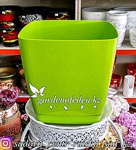 """Пластиковое кашпо FORM-PLASTIC """"Квадратная Тоскания"""". Цвет: Зеленый. Объем: 11л"""