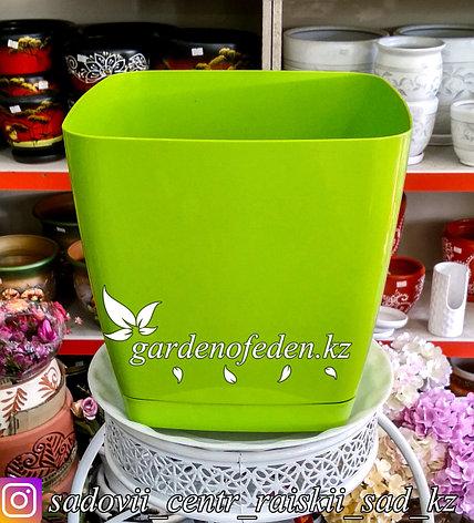 """Пластиковое кашпо FORM-PLASTIC """"Квадратная Тоскания"""". Цвет: Зеленый. Объем: 11л, фото 2"""