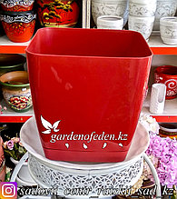 """Пластиковое кашпо FORM-PLASTIC """"Квадратная Тоскания"""". Цвет: Красный. Объем: 7.6л"""