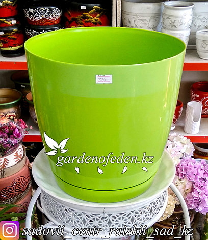 """Пластиковое кашпо FORM-PLASTIC """"Круглая Тоскания"""". Цвет: Зеленый. Объем: 9л, фото 2"""