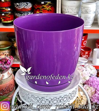 """Пластиковое кашпо FORM-PLASTIC """"Круглая Тоскания"""". Цвет: Фиолетовый. Объем: 9л, фото 2"""