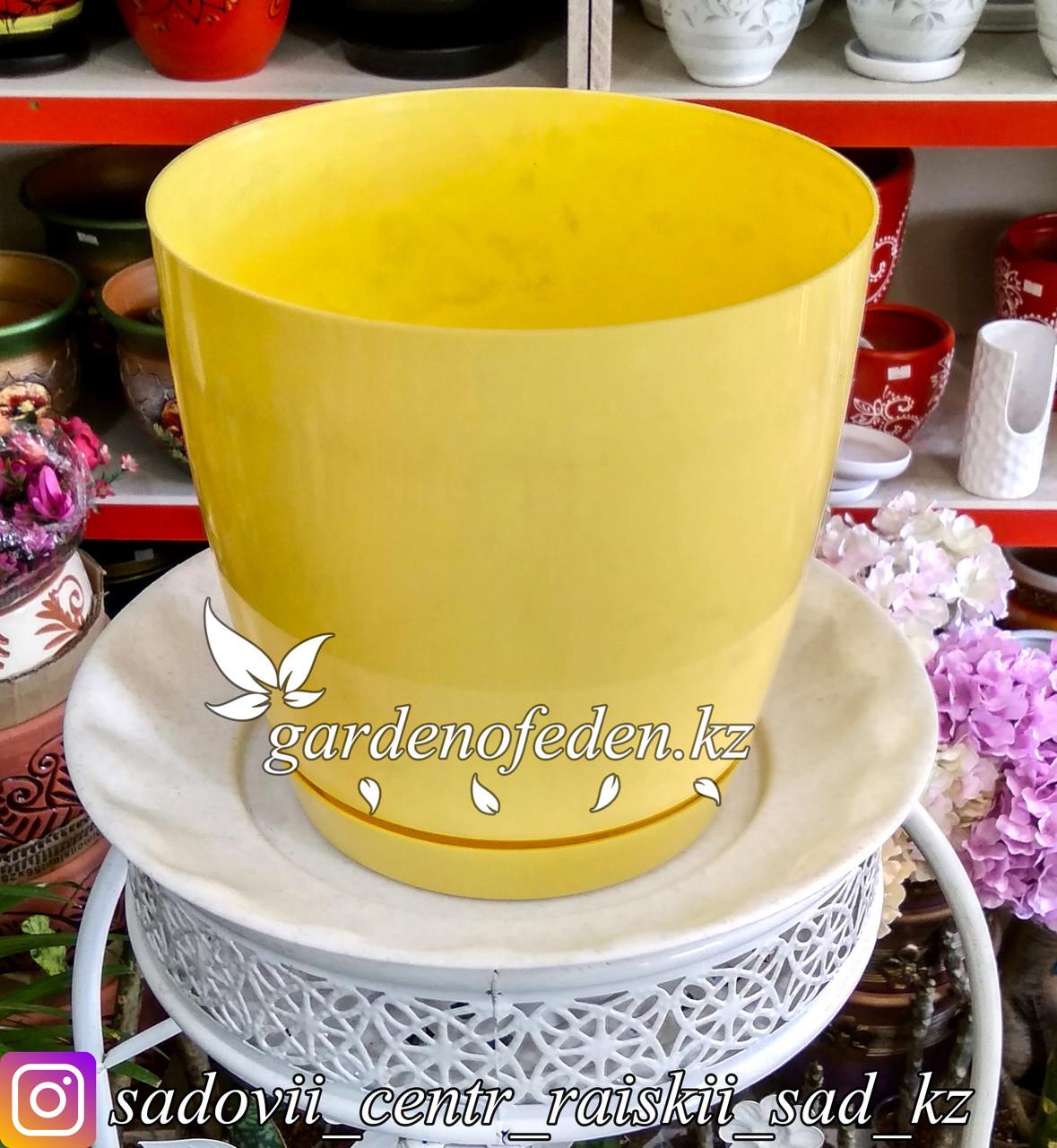 """Пластиковое кашпо FORM-PLASTIC """"Круглая Тоскания"""". Цвет: Желтый. Объем: 4.4л"""