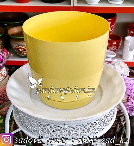 """Пластиковое кашпо FORM-PLASTIC """"Круглая Тоскания"""". Цвет: Желтый. Объем: 3л, фото 2"""