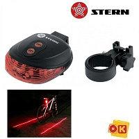 Фонарь велосипедный с лазерным обозначением габаритов, 5 Led + 2 лазера, 2хААА// Stern