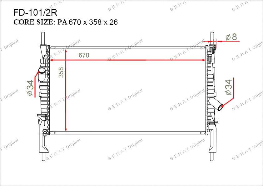 Радиатор основной 6C118005AB