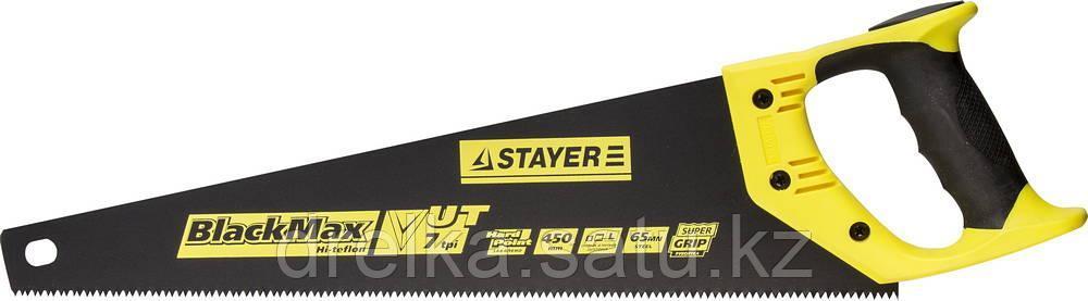 Ножовка универсальная (пила) STAYER BlackMAX 450 мм, 7TPI, тефлон покрытие, рез вдоль и поперек волокон