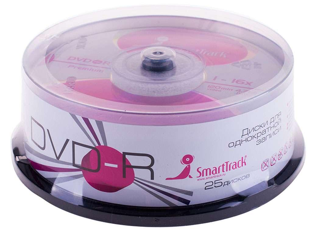 Диск DVD-R Smart Track 4,7 GВ/16х Cake Box (25 штук в упаковке)