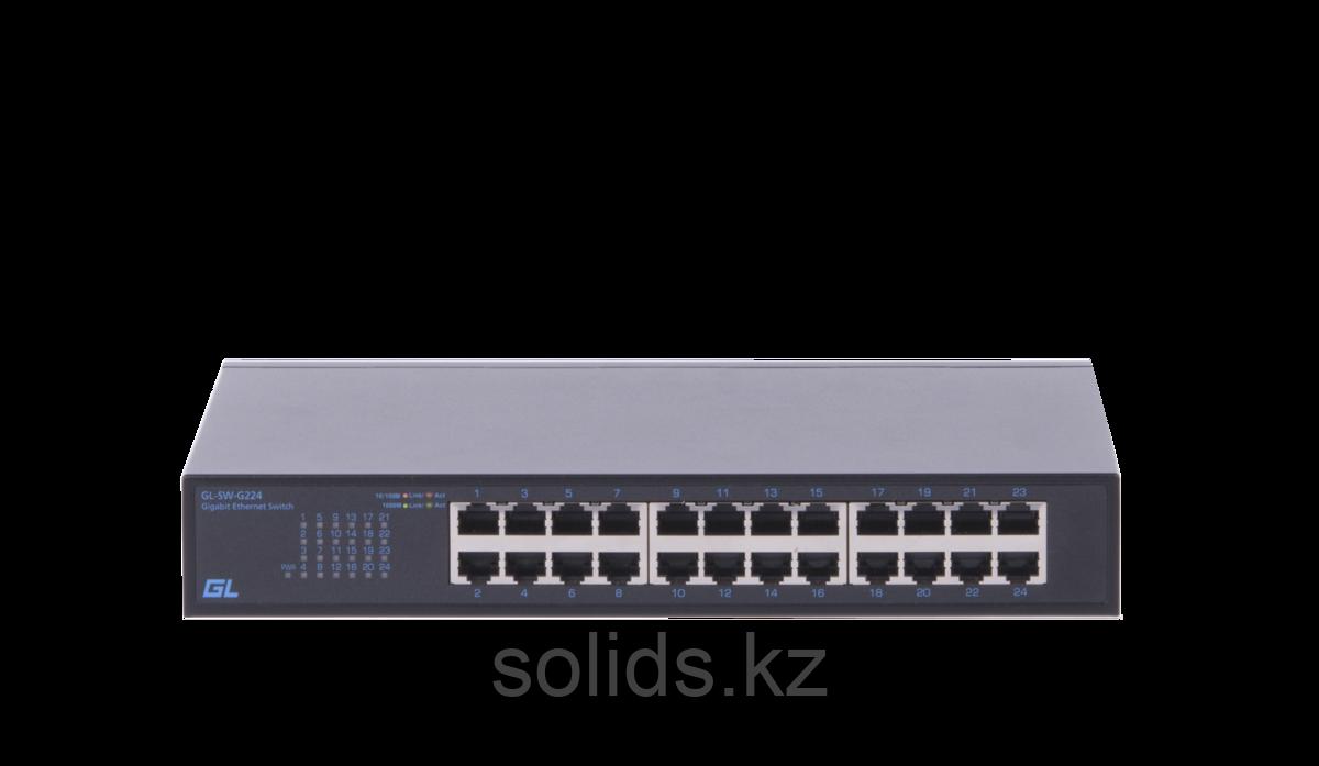 Коммутатор GIGALINK неуправляемый 24 портов 10/100/1000 мб/с, металлический корпус, внутрений блок п, шт