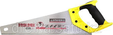 Ножовка многоцелевая (пила) STAYER TOOLBOX 350 мм, 11 TPI, мелкий прямой закаленный зуб, точный рез, фото 2
