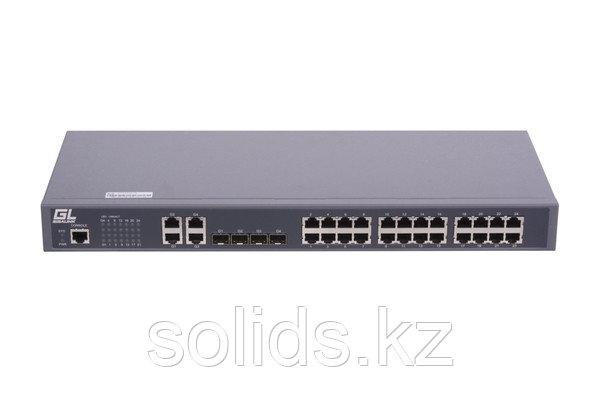 Управляемый коммутатор L2 GIGALINK 24 Base-T 10/100Mb/s портов, 4 Combo TX/SFP 1000Mb/s, 1 Console, шт