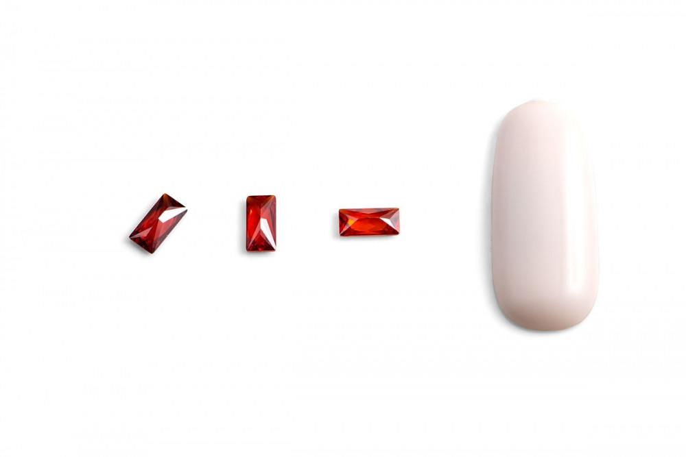 """Кристаллы для объемной инкрустации """"TNL"""" - багет №2 (красный) (10 шт./уп) - фото 2"""