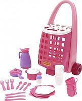 44389 Забавная тележка + набор детской посуды 31 элемент Полесье