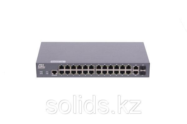 Управляемый коммутатор L2 GIGALINK 24 Base-T 10/100Mb/s портов, 2 Combo TX/SFP 1000Mb/s, 1 Console., шт