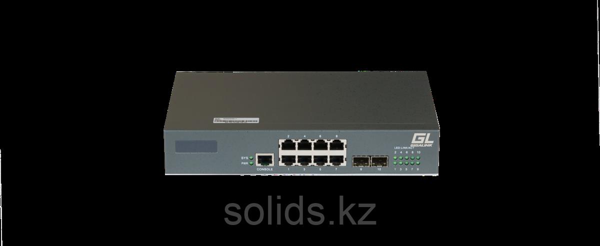 Управляемый коммутатор L2 GIGALINK 8 Base-T 10/100/1000Mb/s портов, 2 SFP 1000Mb/s, 1 Console., шт