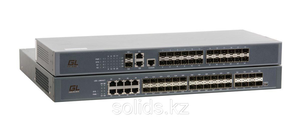 Управляемый коммутатор L2+ GIGALINK, 24 порта 100/1000BaseX SFP(8 Combo), 4 порта 1/10GE SFP+, шт