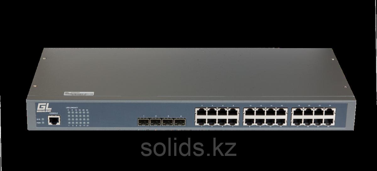 Управляемый коммутатор L2 GIGALINK 20 Base-T 10/100/1000Mb/s портов, 4 Combo TX/SFP 1000Mb/s, 1 Con, шт