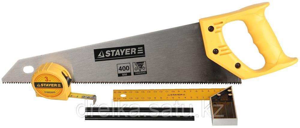 """Набор STAYER """"STANDARD"""" для столярных работ: ножовка по дереву 400 мм, угольник 200 мм, рулетка 3 м"""