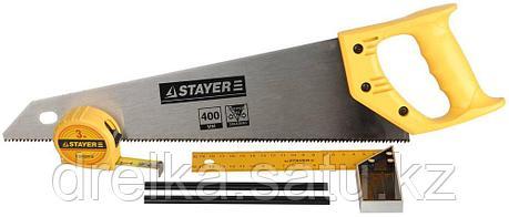"""Набор STAYER """"STANDARD"""" для столярных работ: ножовка по дереву 400 мм, угольник 200 мм, рулетка 3 м, фото 2"""