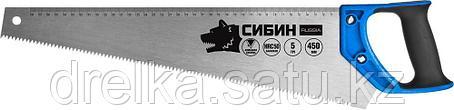Ножовка по дереву (пила) 450 мм, шаг 5 TPI (4,5 мм), СИБИН, фото 2