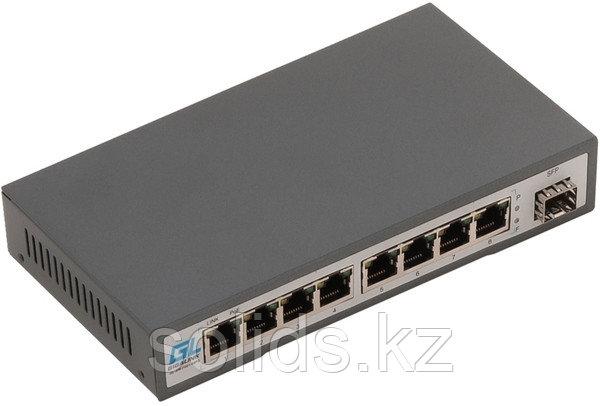 Коммутатор GIGALINK, неуправляемый, 8 PoE (802.3af/at) портов 100Мбит/с, SFP слот 100 Мбит/с, 120Вт, шт