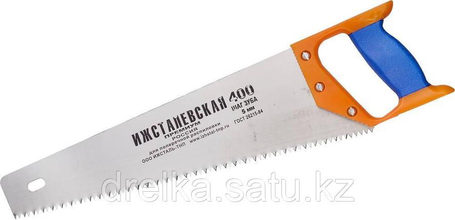 """Ножовка """"ИЖ"""" """"ПРЕМИУМ"""" по дереву с двухкомпонентной пластиковой рукояткой, шаг 5мм, 400мм, фото 2"""