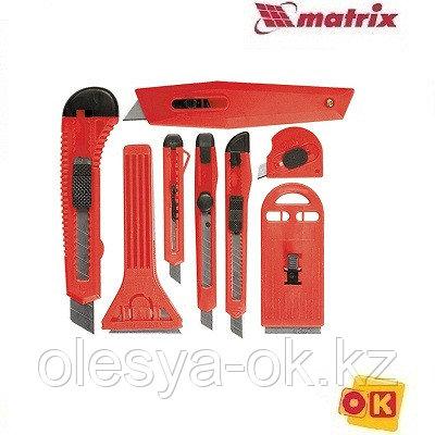 Набор ножей,  выдвижные лезвия, 9мм-4, 18мм-2,+скребки  выдвижн. фиксир.лезв.,40-52мм,2шт// MATRIX
