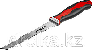 Выкружная мини-ножовка для гипсокартона ЗУБР 150 мм, 17 TPI (1.5 мм), пласт. рукоятка, фото 2