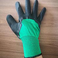 Перчатки прорезиненные рабочие. Зелёные. Размер М-L