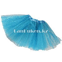 Юбка детская для танцев голубая длина 30 см