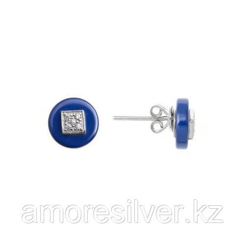 Серьги Teosa серебро с родием, фианит, квадрат ECS-075-BL