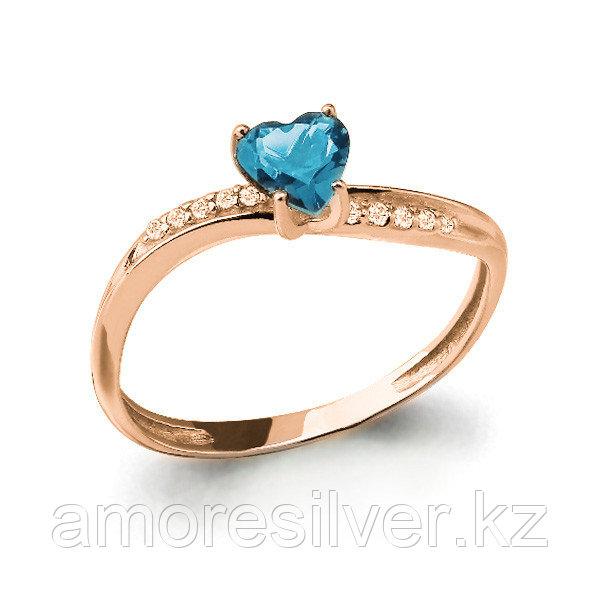"""Кольцо Аквамарин серебро с позолотой, фианит, """"halo"""" 6506905А#"""