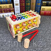 Деревянная игрушка 2 в 1: стучалка и ксилофон, фото 3