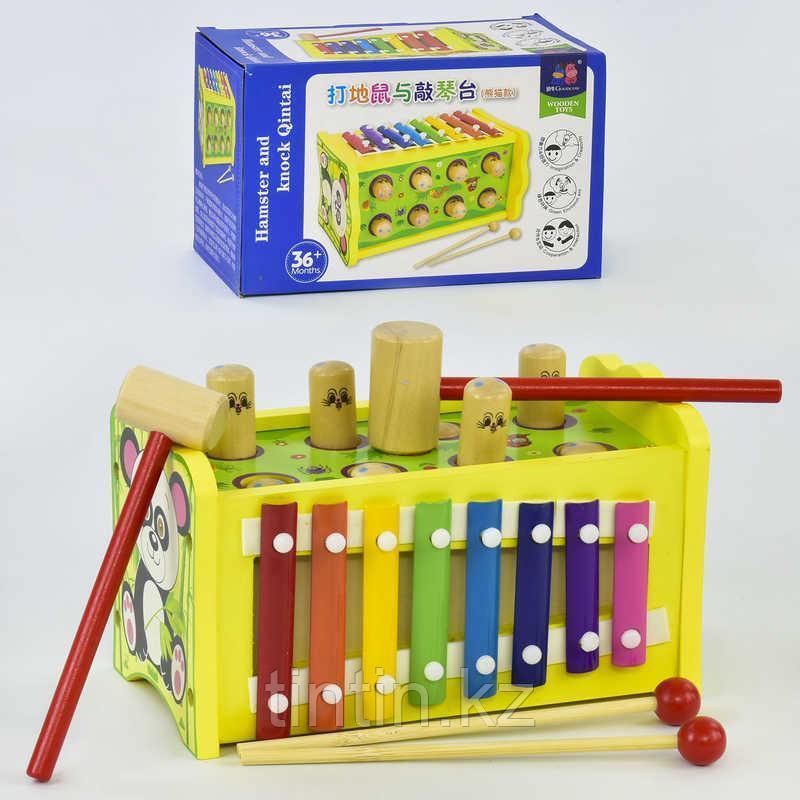 Деревянная игрушка 2 в 1: стучалка и ксилофон