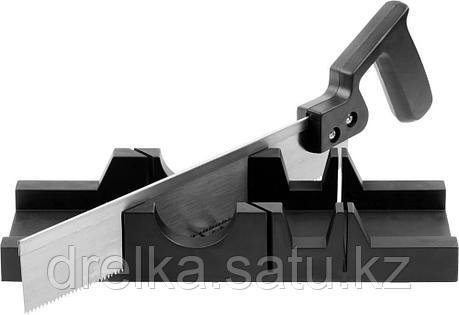 Набор DEXX: Стусло пластмассовое + пила для стусла, для заготовок до 65х35мм, ножовка 300мм, фото 2