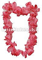 Гавайские бусы Леи из красно-розовых цветов (диаметр по окружности 57-62 см)
