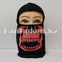Балаклава (лыжная маска) с рисунком черепа черно-розовый