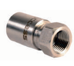 Прессованный наконечник из нержавеющей стали, коническое уплотнение ½'' для шлангов низкого давления