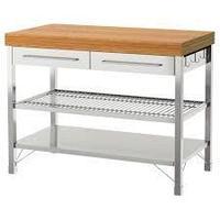 Стол рабочий РИМФОРСА нержавеющ сталь, бамбук ИКЕА, IKEA