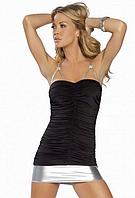 Платье черное с сер. вставками