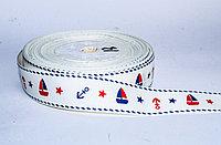 Декоративная лента для одежды, морская тематика, белая