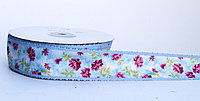 Декоративная лента для декора, цветочки, голубая