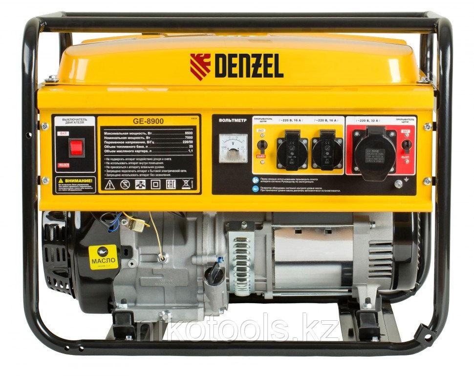 Генератор бензиновый GE 8900, 8,5 кВт, 220 В/50 Гц, 25 л, ручной старт DENZEL