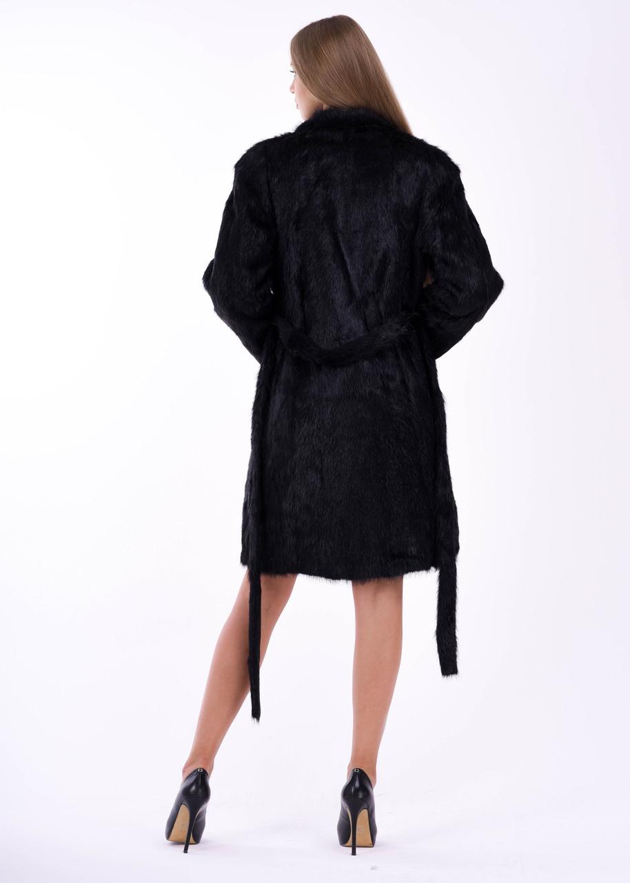 Женская шуба из меха нутрии, воротник стойка - фото 3