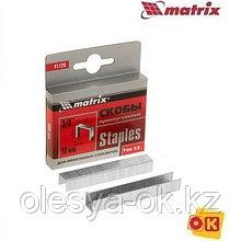 Скобы, 10 мм, для мебельного степлера, тип 53, 1000 шт.// MATRIX