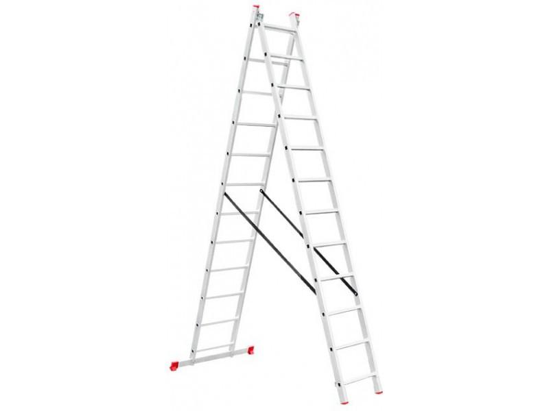 Лестница алюминиевая 2-х секц.15 ступ