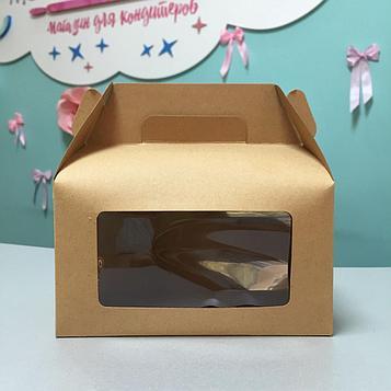 Крафтовая коробка с ручками для десертов с окном