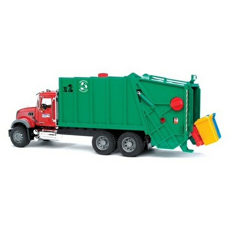 Мусоровоз MACK (зелёный фургон, красная кабина)