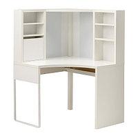 Стол рабочий угловой МИККЕ белый ИКЕА, IKEA