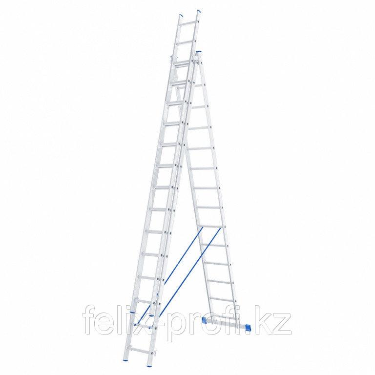 Лестница, 3 х 14 ступеней, алюминиевая, трехсекционная, Россия// Сибртех